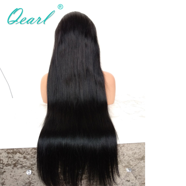 #1 Jet Black Silky Straight Full Lace Wigs Human Hair with Baby Hair 130% Remy Hair Pre Plucked Middle Part Indian hair Qearl 4