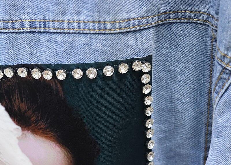 Molla Del Vestiti Outwears Giacca Cappotto Denim Della Delle Lungo Il Blu Con Di Studenti Fori Diamante Stile Bf Coreano Archi Jeans Donne Bellezze Allentato q5Fw8BFX