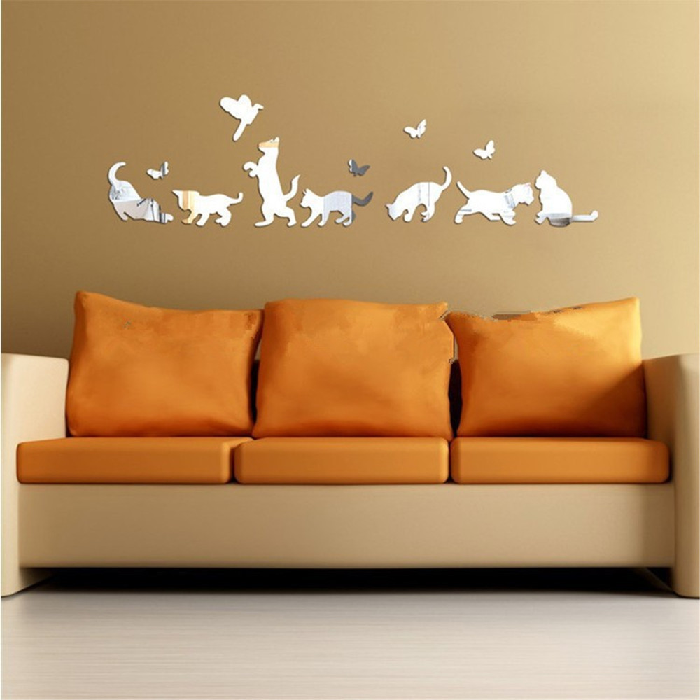 Image 3 - Acrylic Modern 3D Sticker DIY Wall Mirror Stickers Home Decoration Wall Sticker mirrored painted sticker espejos decorativos par-in Wall Stickers from Home & Garden