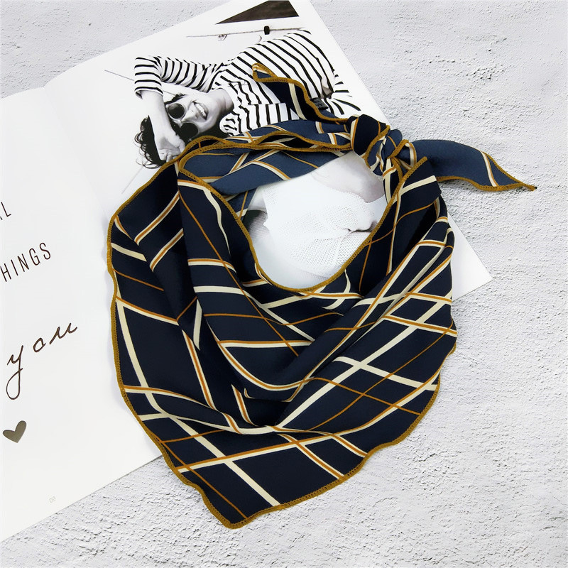 35*85cm Kerchief Triangle Scarf Muffler Bandana Foulard Female Neckerchief Small Bandana Hair Tie Band Scarves Wholesale