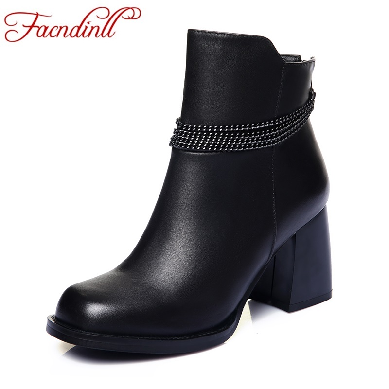 FACNDINLL brand ankle boots for women shoes genuine leather autumn winter square high heels black shoes woman short riding boots enmayla autumn winter chelsea ankle boots for women faux suede square toe high heels shoes woman chunky heels boots khaki black