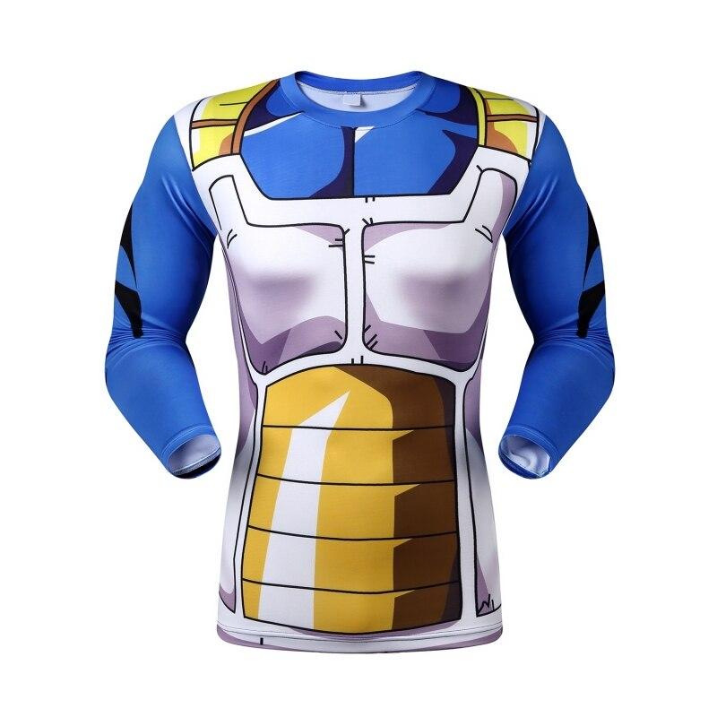 Anime Dragon Ball Z Vegeta Super Saiyan Goku Piccolo 3D T Shirt Men Costume Fitness Tee T-Shirt Long Sleeve Jersey