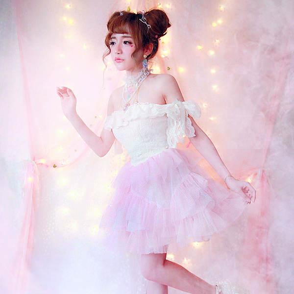 Princess sweet lolita dressBOBON21 Japan GA runway high end small fairy dress strapless dress sparkling snow D1368