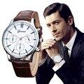 Ginebra Mens Relojes de Primeras Marcas de Lujo Del Relogio masculino 2016 Diseño Retro de LA PU de Negocios Banda de Cuero Reloj Militar Del Ejército