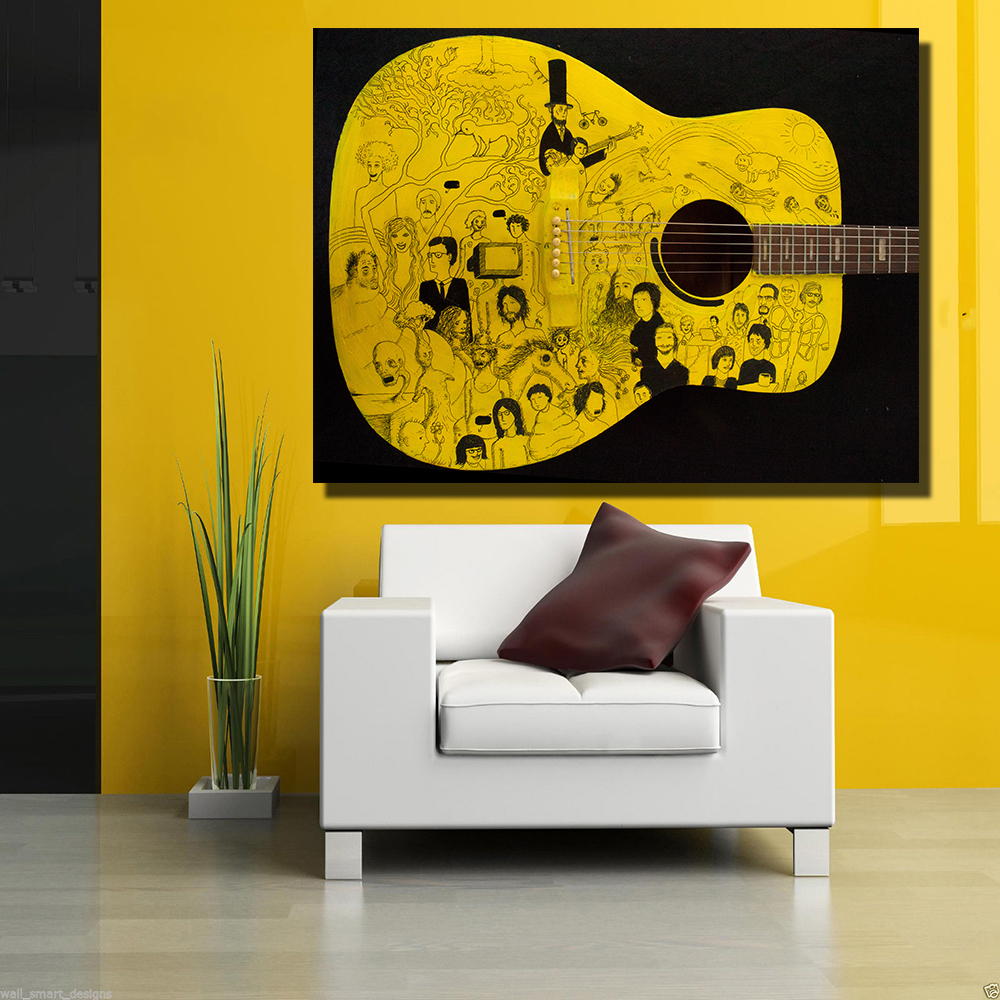 QKART Posters and prints Yellow Guitar Surrealism Artwork Oil ...