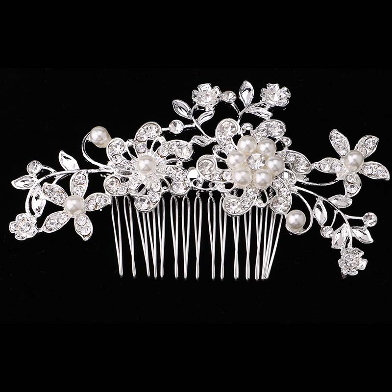 Bridal Hair Accessories Lace Flower Crystal Pearl Rhinestone Hair - Fashion Jewelry