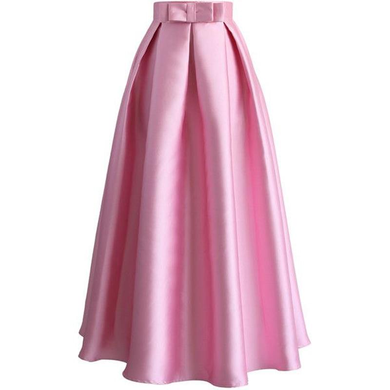 Belle ruée Satin rose jupes faldas personnalisé de haute qualité n'importe quelle couleur de longueur de plancher de graphique avec arc dame jupe