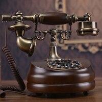 Резьба по дереву антикварный телефон Европейский Сад Ретро домашний телефон офис телефон звонящий ID украшение дома искусство деревенский
