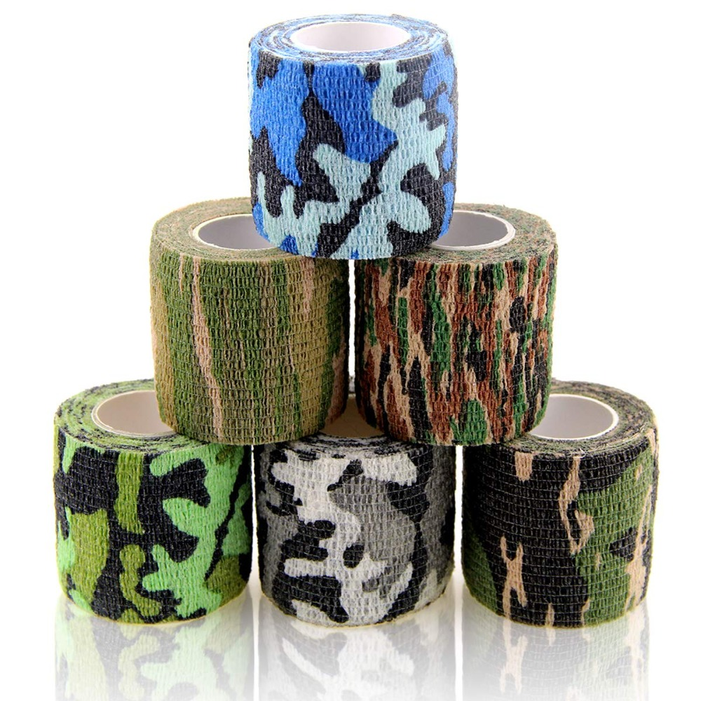 6 Rolls Camouflage Sports Elastoplast Self Adhesive Bandage Vet Tape Cohesive Bandages Adherent Wrap Non-Woven For Muscle/Finger
