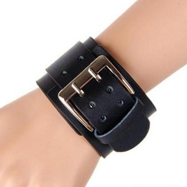 Unisex PU Leather Wide Cuff Bracelet Belt Double Buckle Wristband Adjustable