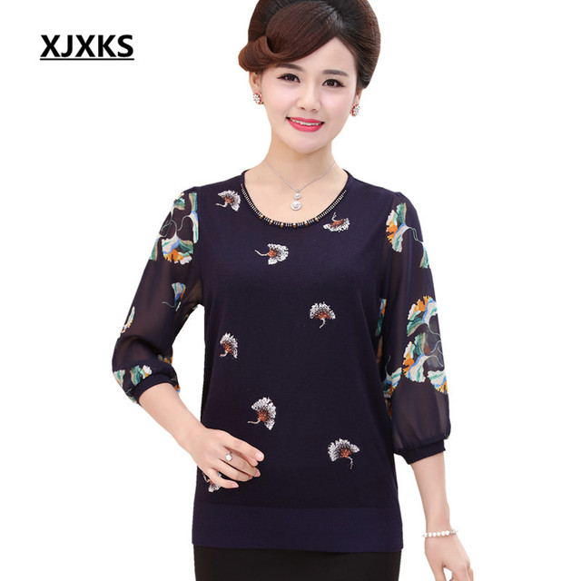 7266f582c36f XJXKS Spring and summer women s thin sweaters and pullovers 2018 new loose  plus size beaded stitching chiffon sleeves female top