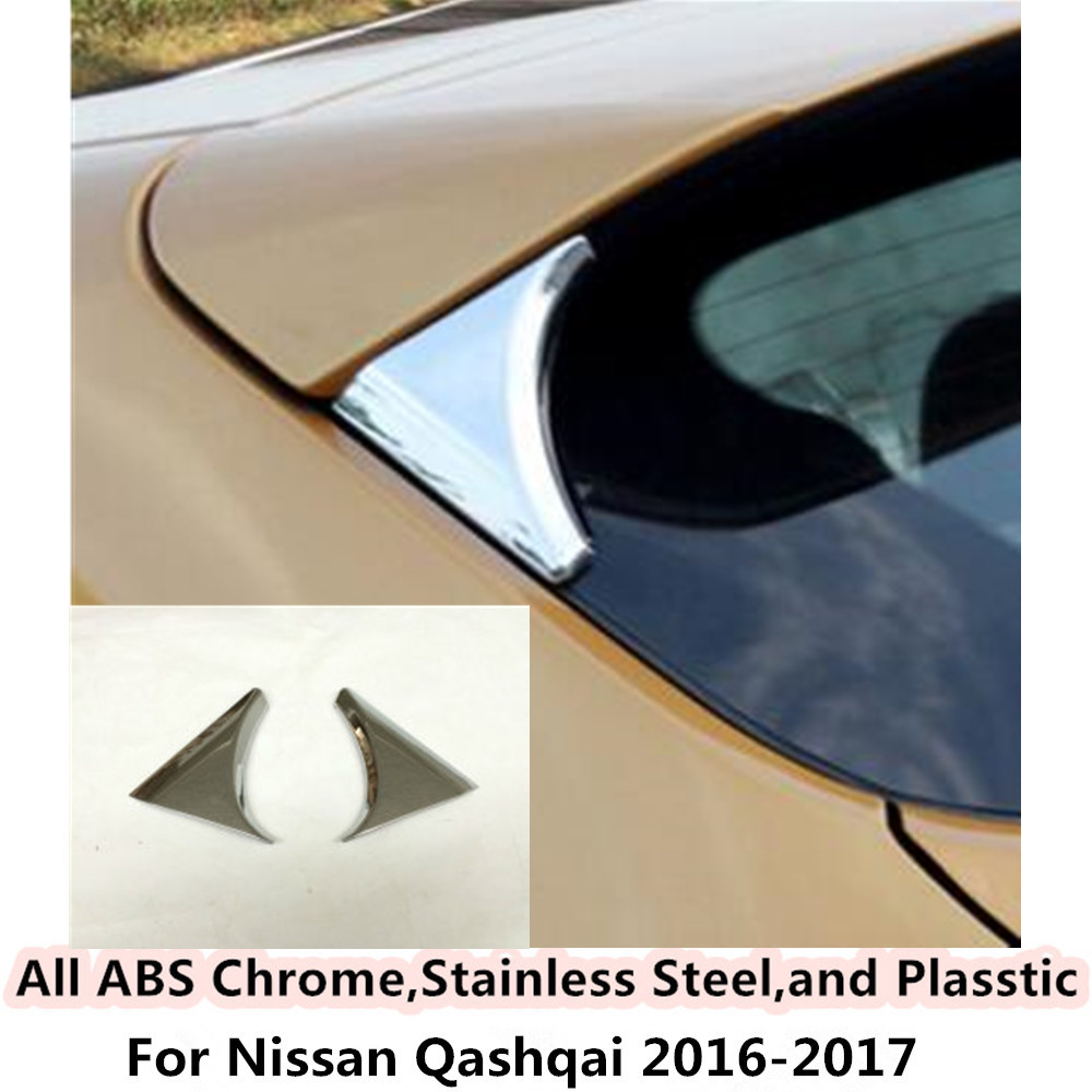 For Nissan Qashqai 2016 2017 Car body styling ABS chrome Rear tail Spoiler side triangle Molding WINDOW bezel trim Sticks 2pcs