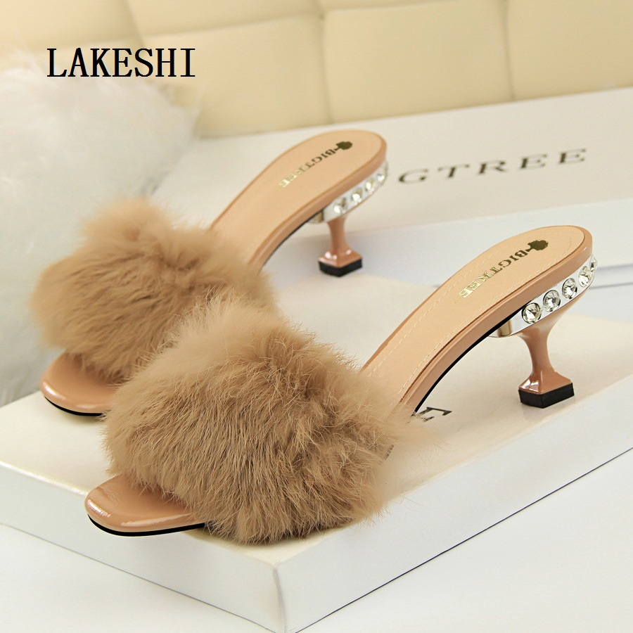 LAKESHI New Shoes Women Pumps Mid Heels Sandals Women Fur Shoes Crystal Heels Women Slippers Crystal Sexy High Heels Party Shoes