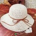 Verano Mujeres de La Manera Headwear Señora Plegable Roll Up de Ala Ancha de Paja de Sun Beach Visera Gorra de Envío Gratis