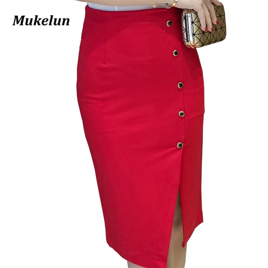 Plus Size Kvinder Office Nederdele S-5XL Fashion Sommer Slim Sexy Høj Talje Bodycon Rød Pencil Nederdel Lady Open Slit OL Skirt Sort