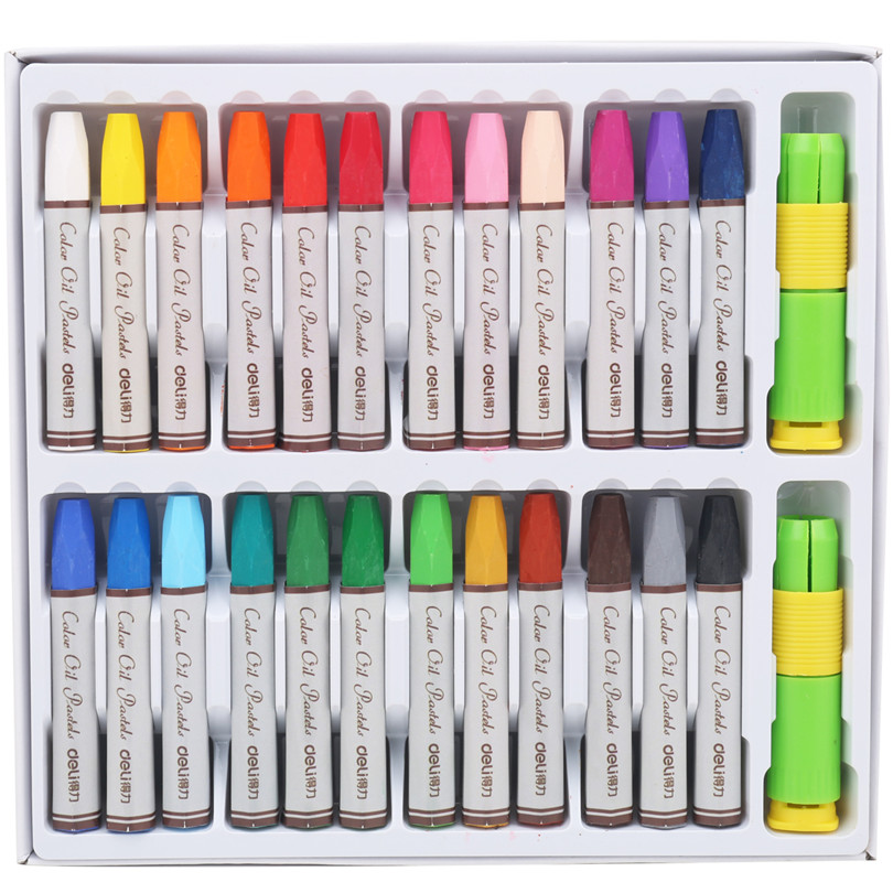 24 Colors/box Oil Pastels For Student Stationery School Drawing Pen Supplies Deli 72052 Boligrafos Brands