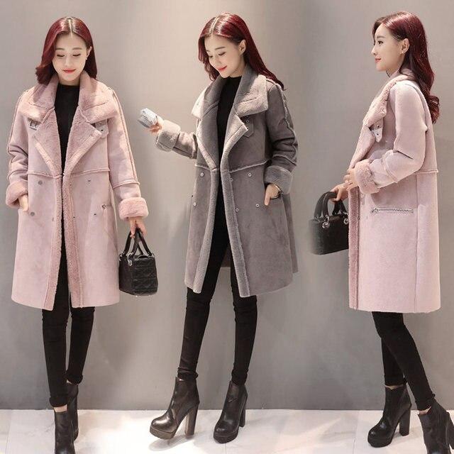 2018 New Lambs Wool Coat Winter Jacket Women Plus Velvet Thicken Long Coat Fashion Parkas Women's Clothing Chaquetas Mujer C3590 4