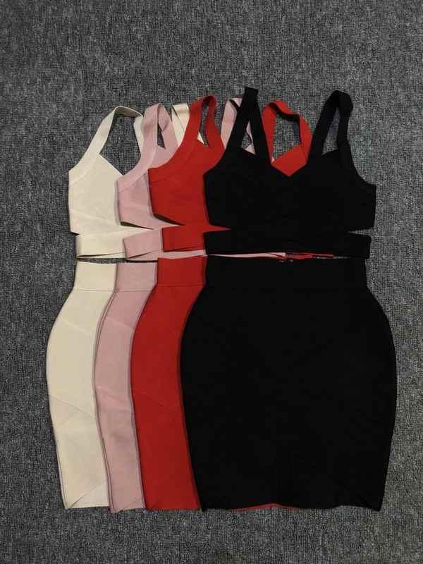 4 色女性セット V ネック半袖トップスミニスカート 2 個包帯セット人気着用