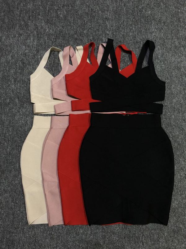 Women Sets 4 Color Strap V Neck Short Tops Mini Skirts 2 Pieces Bandage Sets Popular Wear