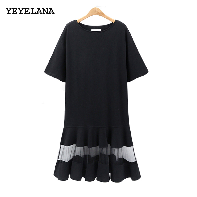 YEYELANA Women Dress 2018 Summer European Style Fashion Cotton Knitted Tulle Patchwork Dresses Retro Vintage Party Dress A084 женское платье dresses dress women 2015 printsleeveless o summer style women dress