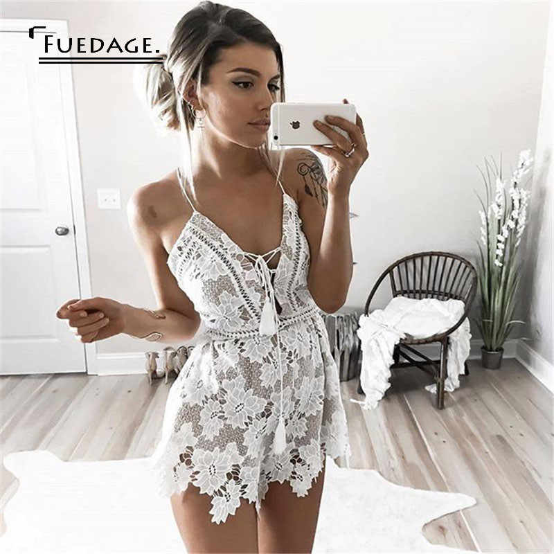 summer v-neck lace print white playsuit cropped backless jumpsuit combinaison femme casual overalls rompers womens jumpsuit 2017
