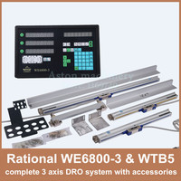 Free Shipping Rational WE6800 3 3 axis DRO digital readout for milling lathe machine with 3 pcs WTB5 linear scale