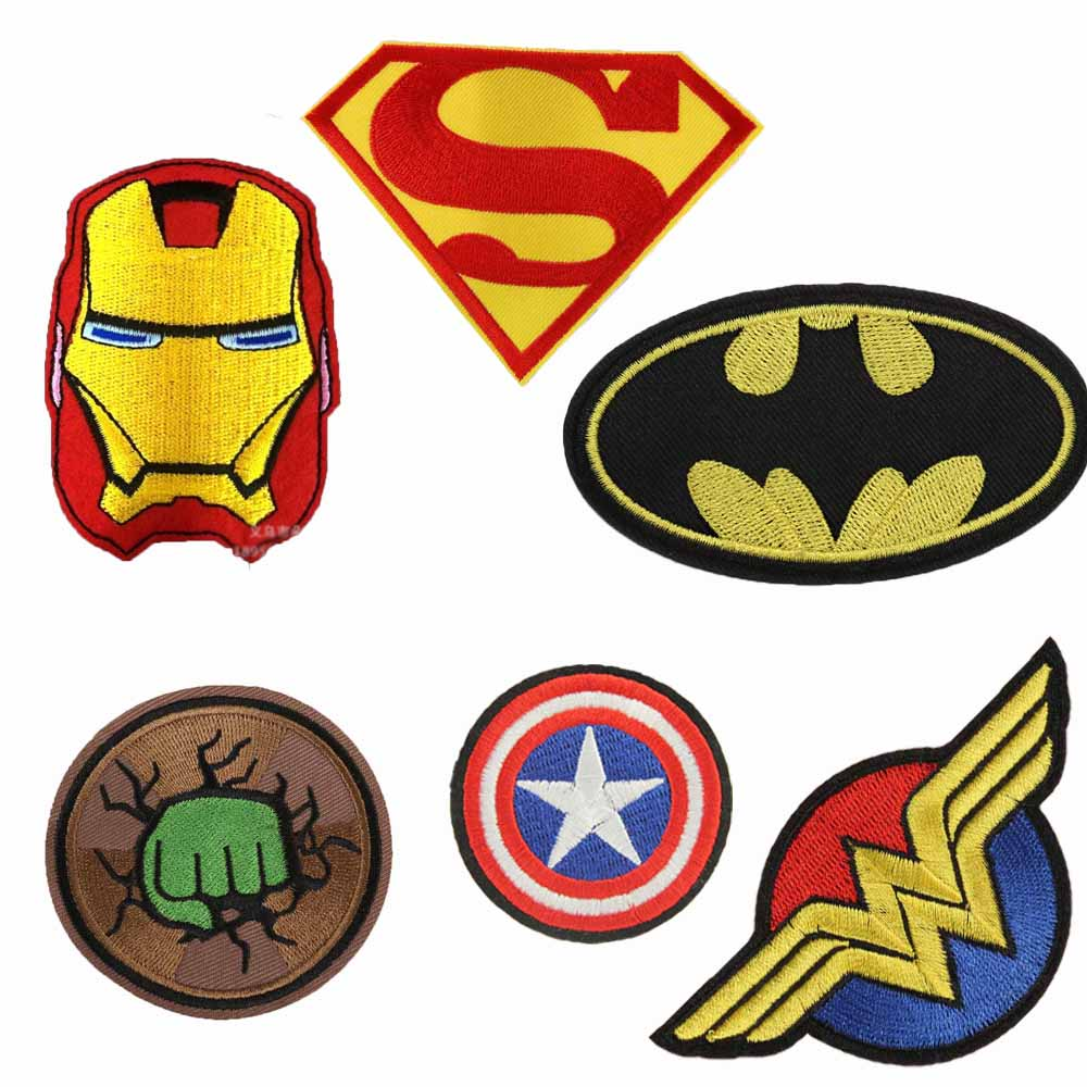 קנו אומנות מלאכת יד ותפירה cartoon kids batman hulk superman superhero captain iron on