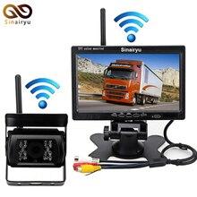 Novo! 2.4 GHz Câmera de Visão Traseira Sem Fio + 2.4 GHz Sem Fio 7 Do Carro da polegada Monitor de Assistência De Estacionamento Sistema de Ajuste Para Auto Truck Van Bu
