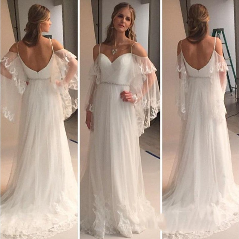 2017 beach wedding dress bohemian summer tiers tulle with appliques sweetheart beads belt sexy back cheap fairy bridal gowns