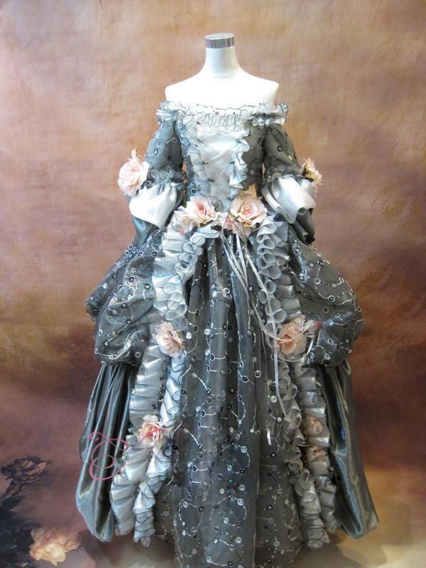 17 18 го века серый цветочный мария антуанетта с плеча барокко рококо хеллоуин костюм cosplay костюма dress