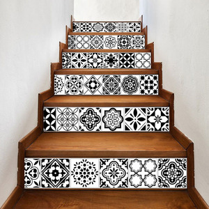 Image 2 - 6PCS לבן שחור אריחי מדרגות מדבקות בית מדבקות מדרגות מדרגות רצפת מדבקת DIY קיר לקיר מדבקות מדרגות מדבקות קישוט