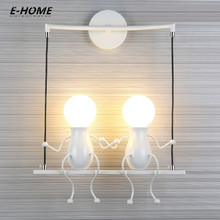 Small Child wall lamp for living room Bedroom Creative bedside lamp Corridor Aisle Stairs Balcony white black red 220v 110v special wall lamp mediterranean aisle balcony corner stairs bedroom bedside lamp tiffany wall lamp