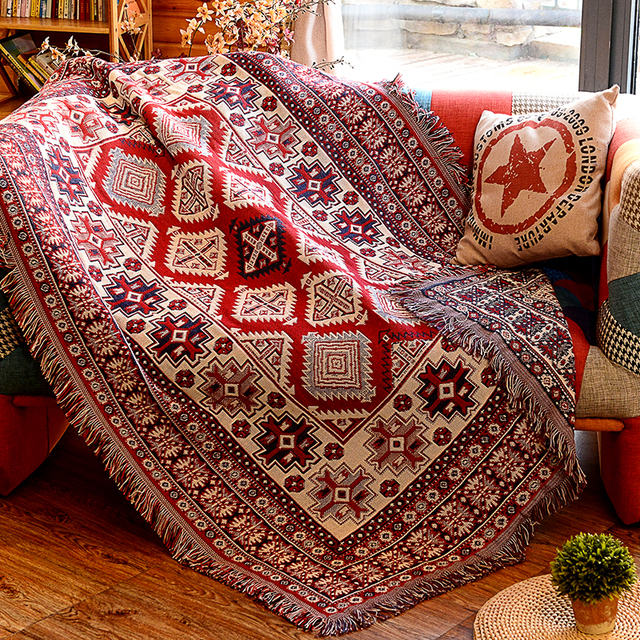 Panlonghome American Country Cotton Knitted Sofa Blanket Home Decor Tapestry Living Room Carpet Double Sided