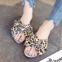 2019 New Beach Slippers For Women Summer Slides Flip Flops Leopard Bowknot Ladies Home Buty Damskie
