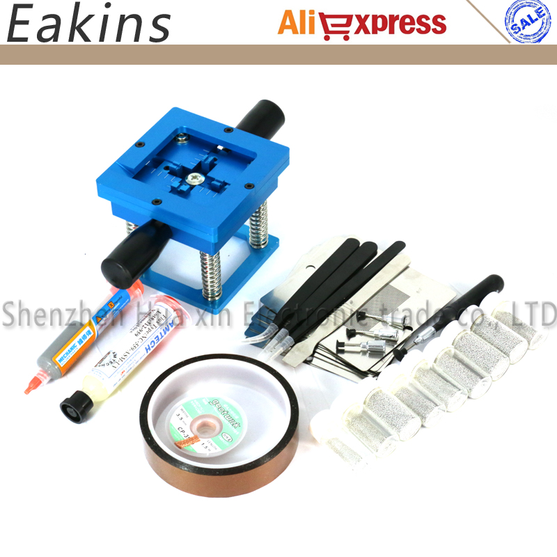 Blue BGA reballing station with hand shank BGA tin fixture BGA reballing kit+90*90mm Universal Bga Stencil+solder paste+tweezer wireless bluetooth earphone s6 1 metal bluetooth headset with mic for iphone 7 for samsung galaxy s7 s6 s5 xiaomi redmi 4 phones