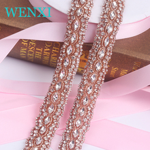 "10YARDS""WENXI Wholesale Crystal Rhinestone Trim With Pearls Beaded Rhinestone Bridal Applique For Wedding Gown Or Sash"