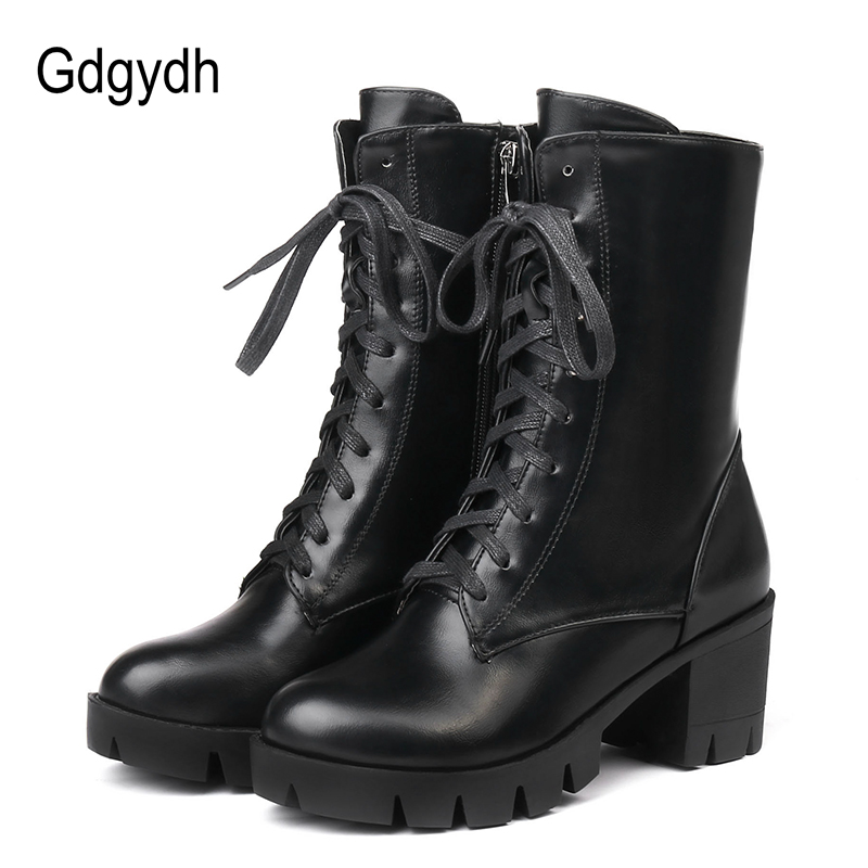 Gdgydh 2018 Women Ankle Boots High Heels Female Motorcycle Boots Lacing Round Toe Rubber Sole Platform