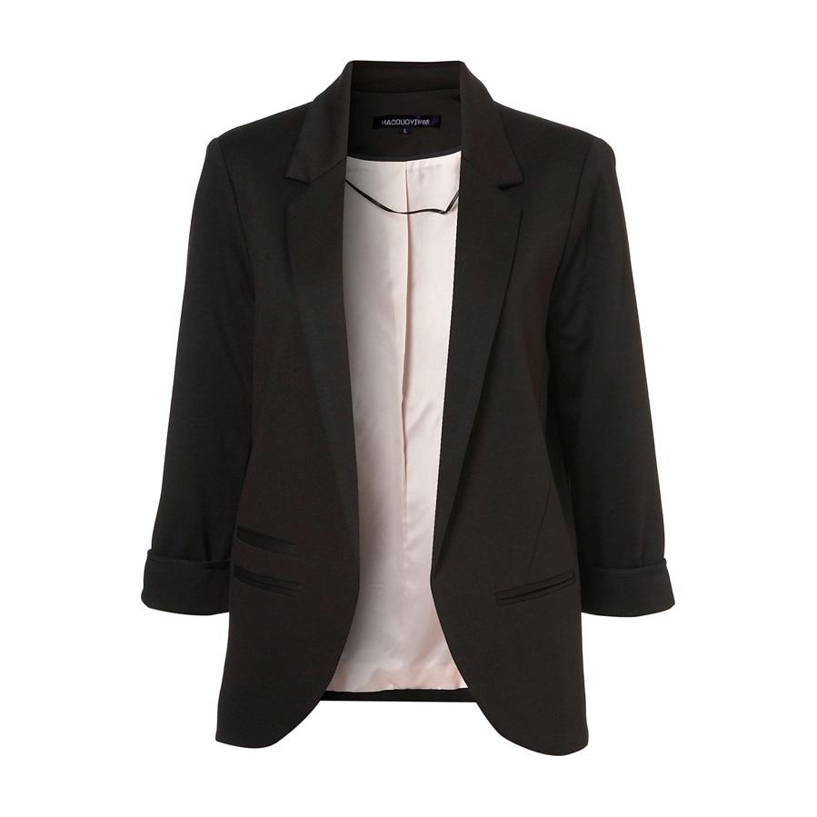Hdy haoduoyi 2017 осень женская мода 7 цветов slim fit blazer куртки зубчатый три четверти рукав пиджак пальто женщин