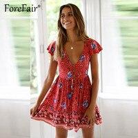 6113be68e9 Forefair Women Print Vintage Boho Dress Summer Dresses 2019 Casual Short  Sleeve V Neck Button Retro. (81). Zobacz Ofertę. Nadafair spaghetti pasek  sukienka ...