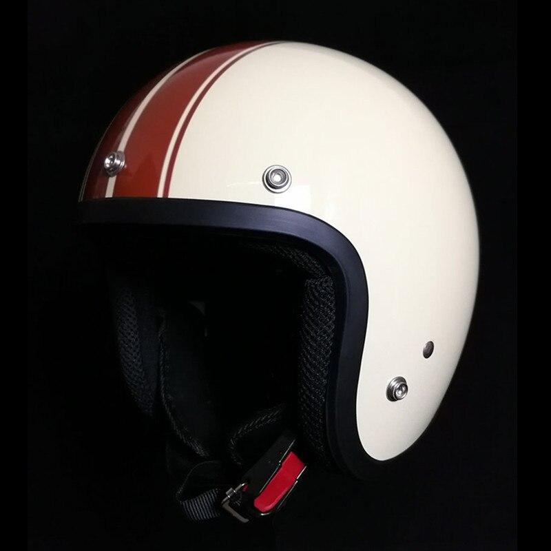 Для взрослых с открытым лицом Jet Casco moto Винтаж moto rcycle шлем moto rbike Ретро шлем скутер 3/4 полушлем capacete de moto cicleta - Цвет: brown line
