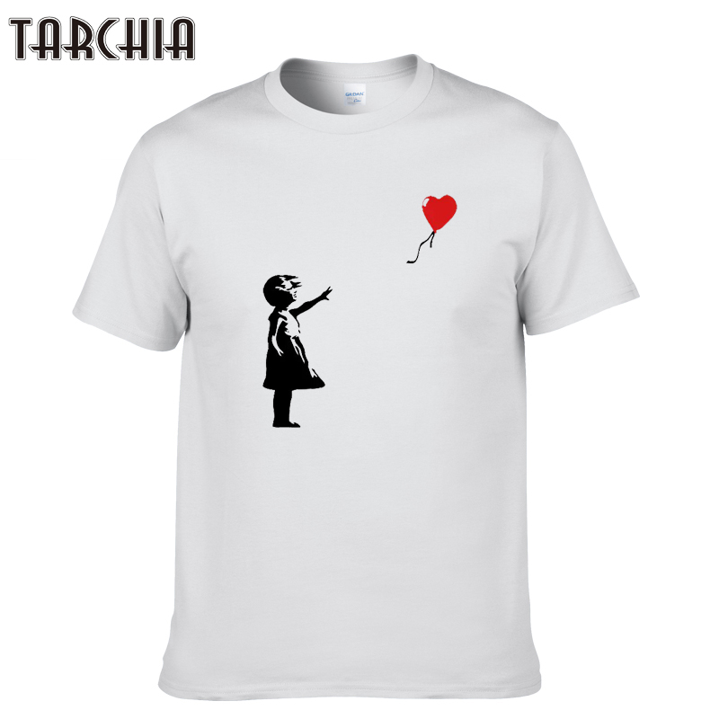 TARCHIA New Arrived   t  -  shirt   cotton tops tees kcco balloon girl banksy men short sleeve boy casual homme   t     shirt   tee plus fashion