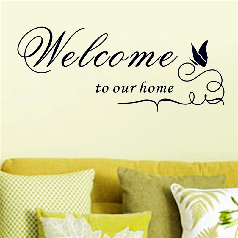 ④welcome to our home vinyl wall stickers quotes living room home ...