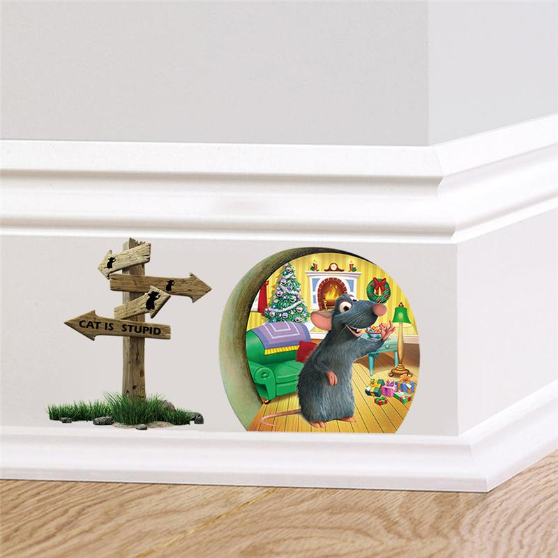 Funny mouse hole stickers wall corner decoration for Decoration hole