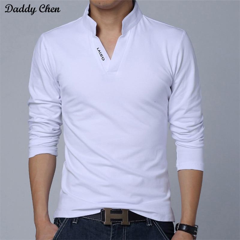 2018 camicia a maniche lunghe degli uomini di cotone Bianco nero Con Scollo A V divertente 2017 camicie di marca slim fit in più di grande formato top tees per uomo 5XL rosso
