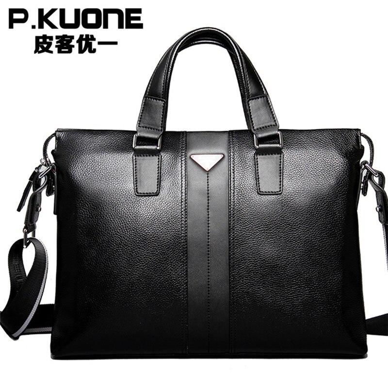 Bolsos de moda para hombre P. kuone vintage maletín de cuero genuino marrón bolsos de hombro de negocios maletín de alta calidad para ordenador portátil
