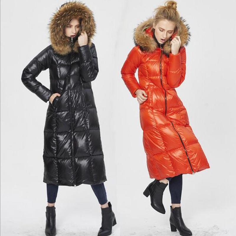 High Quality Luxury 2018 Winter Jacket Women Warm Thick White Duck Down Parkas Real Raccoon Fur Collar Down Jacket Women Coat