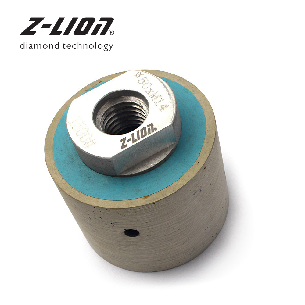 Z-LION 2 1 PC Diamond Wet Polishing Drum Wheels M14 5/8-11 Arbor For Polish Grinding Granite Marble Concrete Sink Hole Sanding