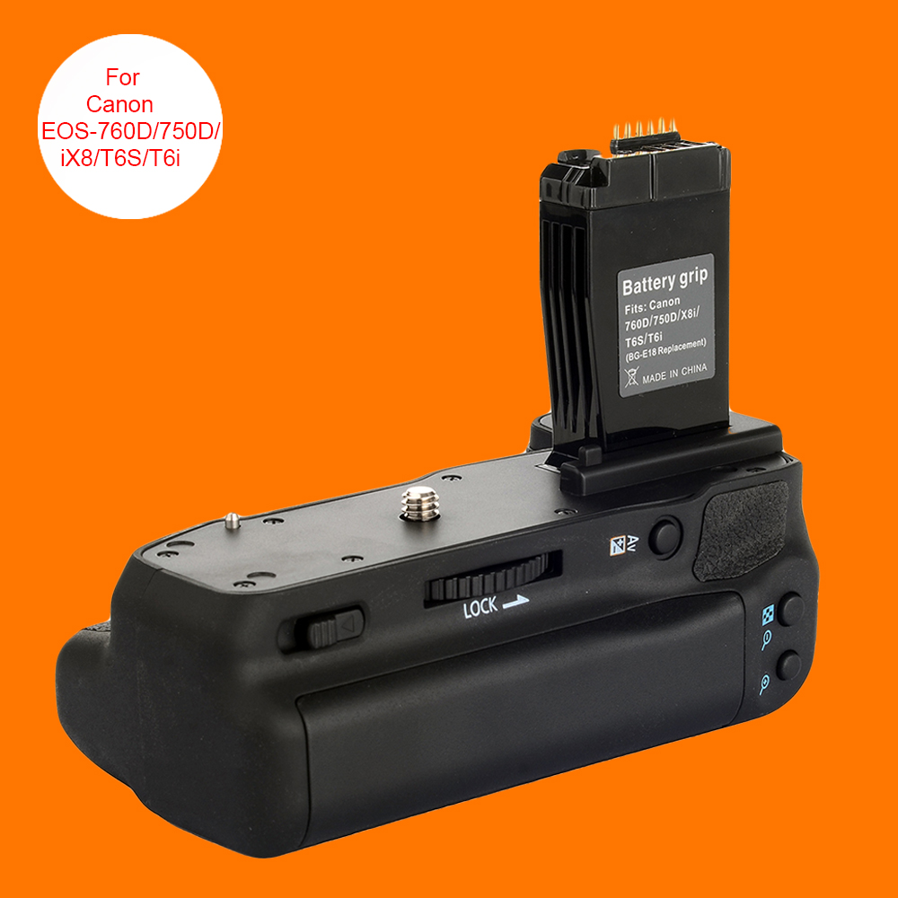 Pro Vertical Battery Grip Holder for Canon EOS 760D 750D T6S T6i iX8 as BG-E18 meike mk 760d pro built in 2 4g wireless remote control vertical battery grip for canon 750d 760d rebel t6i t6s lp e17 as bg e18