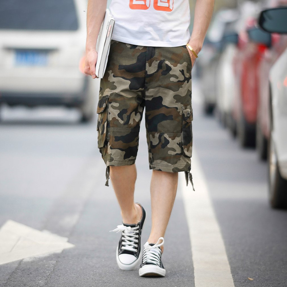 2017 New Casual Mens Camouflage Shorts Summer Cotton blue camouflage shorts Cargo Trousers Multi-Pockets short pants masculino