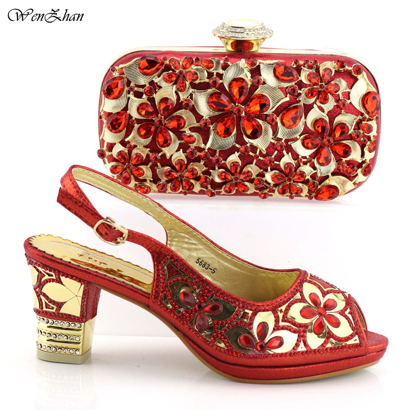 Nice looking Shoes And Bag Set New Red Color 2018 Women Shoes And Bag Set In Italy Italian Shoes with Matching Bags Set C89-25 doershow gold shoe and bag set new 2018 women shoes and bag set in italy red color italian shoes with matching bags set ha1 15